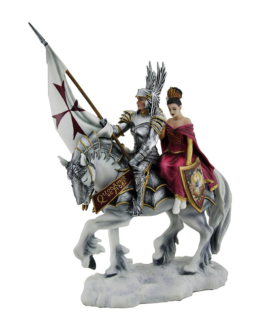 Veronese Resin Statues Faith By Ruth Thompson Mounted Templar Knight And Lady Statue 9.5 X 13.5 X 4 Inches White