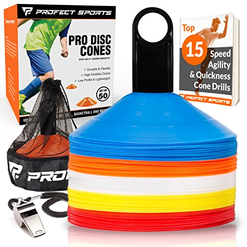 Pro Disc Cones (Set of 50) - Includes Mesh Bag, Carrier Stand, Whistle, and Best Cone Drills eBook - Ideal for Agility Training, Soccer, Football, Kids (Multi Color - Orange, Yellow, Blue, White, Red)
