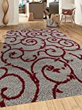 Cheap Rugshop Cozy Contemporary Scroll Indoor Shag Area Rug, 5'3″ x 7'3″, Red/Gray