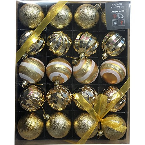 Snow White Luxury Bauble Set of 20 in Gold by PMS