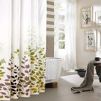 Duschvorhang überlänge duschvorhang grün weiss weiß 260x200 textil waschbar 100 polyester