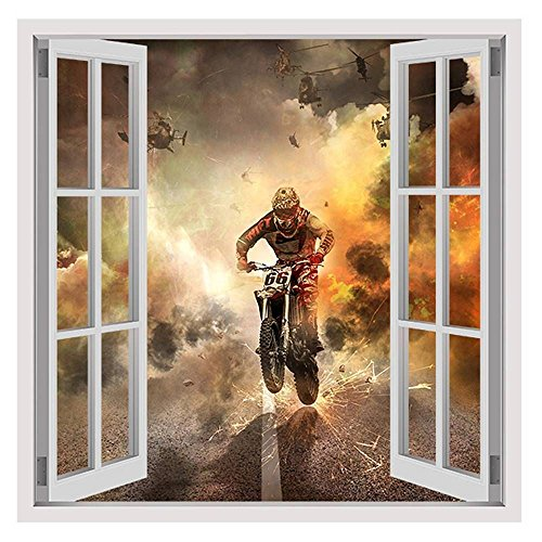 Alonline Art - Motorcycle Extreme Sports by Fake 3D Window | framed stretched canvas on a ready to hang frame - 100% cotton - gallery wrapped | 28