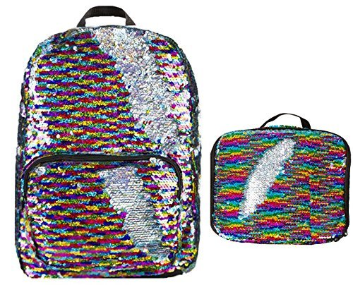 Magic Sequins! Reversible Stripes to Silver Backpack & Matching Lunch Bag