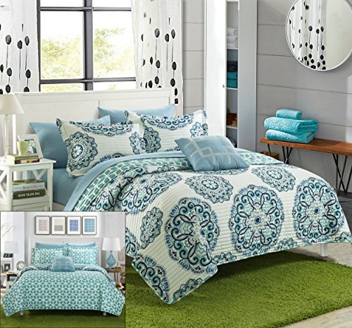 Chic Home Madrid 4 Piece Reversible Quilt Set Super Soft Microfiber Large Printed Medallion Design with Geometric Patterned Backing Bedding Set with Decorative Pillow and Sham, King Green (Quilt Clearance King)