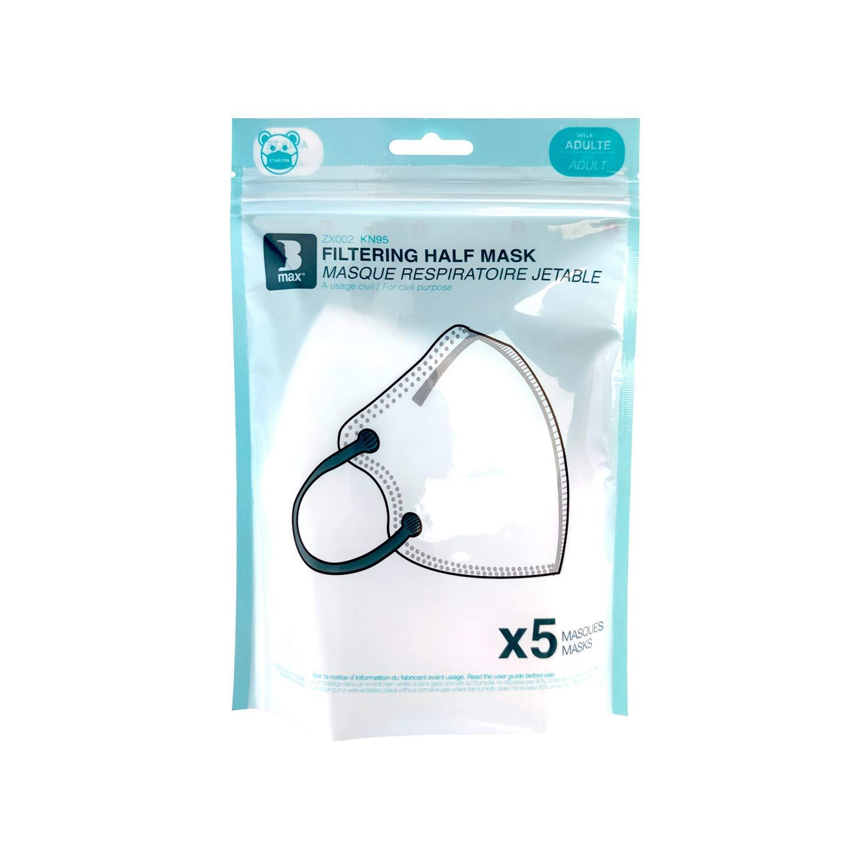 Staroon Mascarilla Facial de Seguridad FFP2/KN95, Antipolvo, Antibacterias, Con Válvula de Filtro, Respirador de Seguridad (Paquete de 5 Piezas)
