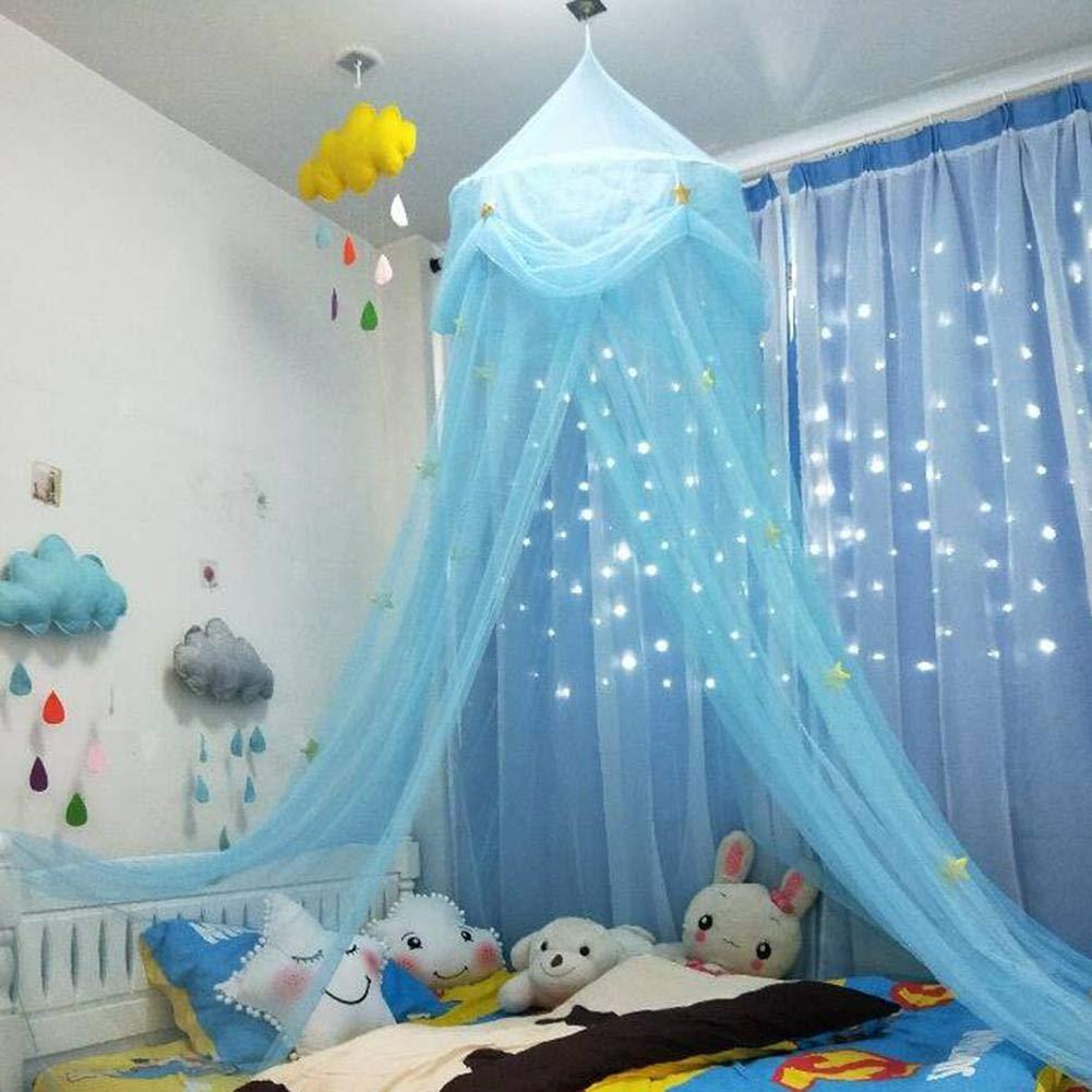 Zelt Haus fü r Mä dchen Moskitonetz Neue Kinderzimmer Kuppel Zelt Baldachin Bett Volant Zelt mit blauen rosa weiß en Sternen Traumzelt Zimmerdekoration Spielzelt Dream-cool