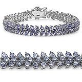10.00 Carat Genuine Tanzanite Silver Bracelet