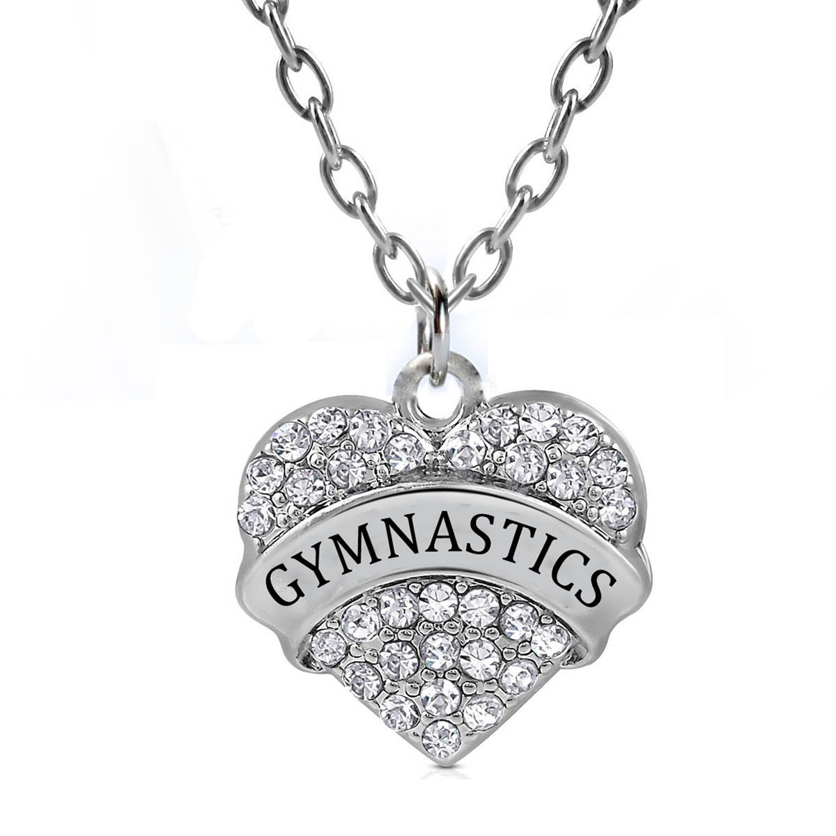 0e18b1396 Gymnastics Gifts Heart Pendant Necklace Women Girls - White Crystal Silver  Tone Jewelry