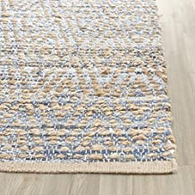 Safavieh Cape Cod Collection CAP351A Hand Woven Flatweave Geometric Diamond Natural and Blue Jute Area Rug (2' x 3')