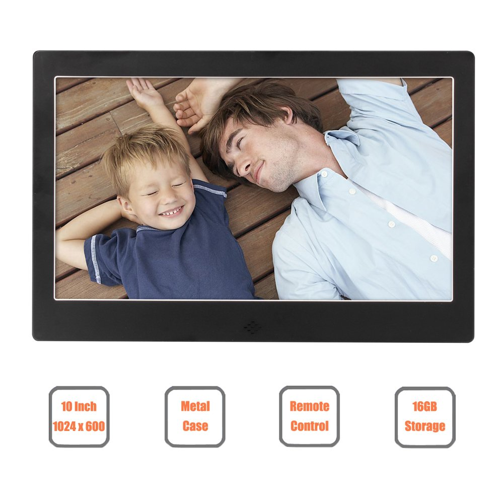 10 Inch Digital Picture Frame, FULLBELL FU-DPF10BA with 1024x600 High Resolution Screen, Metal Case, 16GB Memory and IR Remoter (Black)