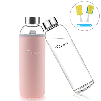 Ryaco Botella de Agua Cristal 550ml, Botella de Agua Reutilizable 18 oz, Sin BPA