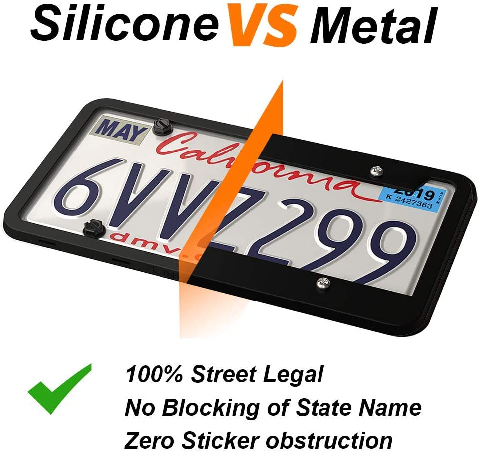 Black Rust-Proof 2 PCS License Plate Holder Weather-Proof Rattle-Proof Two Peak Silicone License Plate Frame Car License Plate