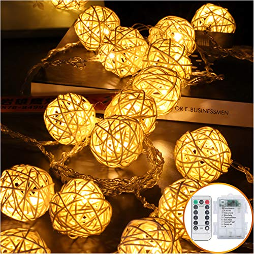 2 Modes 16ft 40LEDs Ball Fairy Lights Battery Operated Warm White Decorative Light Wedding for Bedroom Globe String Lights Party