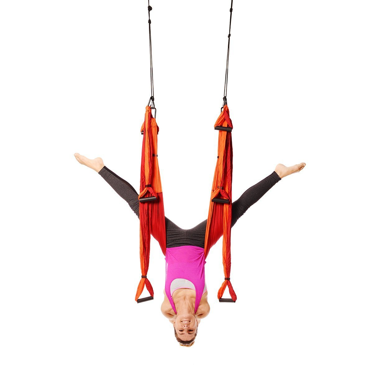 Ranbo Yoga Inversion Swing - Anti-Gravity Aerial Trapeze - Flying Hammock Sling - Relieves Back Pains, Improves your Strength, Balance, Flexibility and Endurance (Orange)
