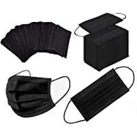 50 PCS 3 Ply Black Disposable Face Shield Filter with Earloop and Nose Clip Anti-Dust for Personal Protection(Black)