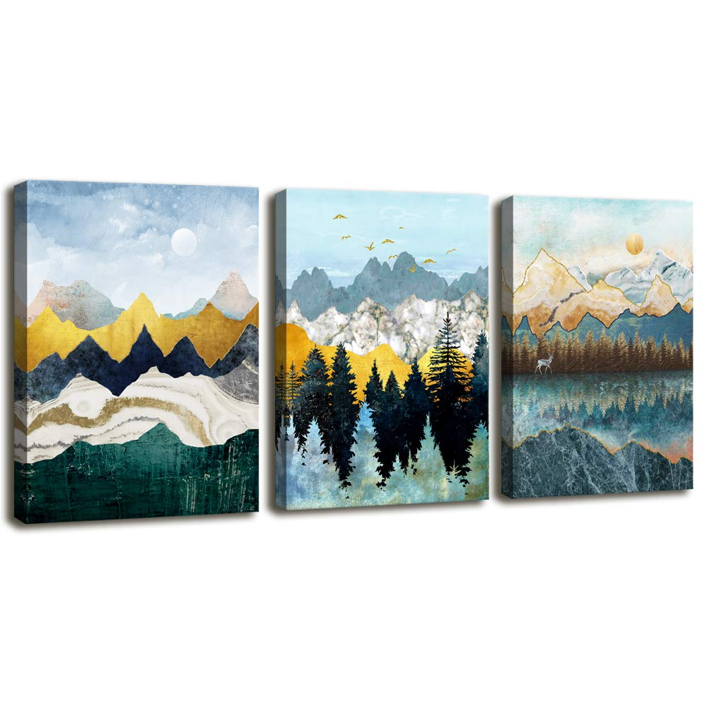 Abstract Geometric Mountain Watercolor Painting Wall Decoration for Bedroom 3 Piece Abstract Canvas Wall Art for Living Room Modern Canvas Prints Kitchen Bathroom Wall Decor Office Home Decoration
