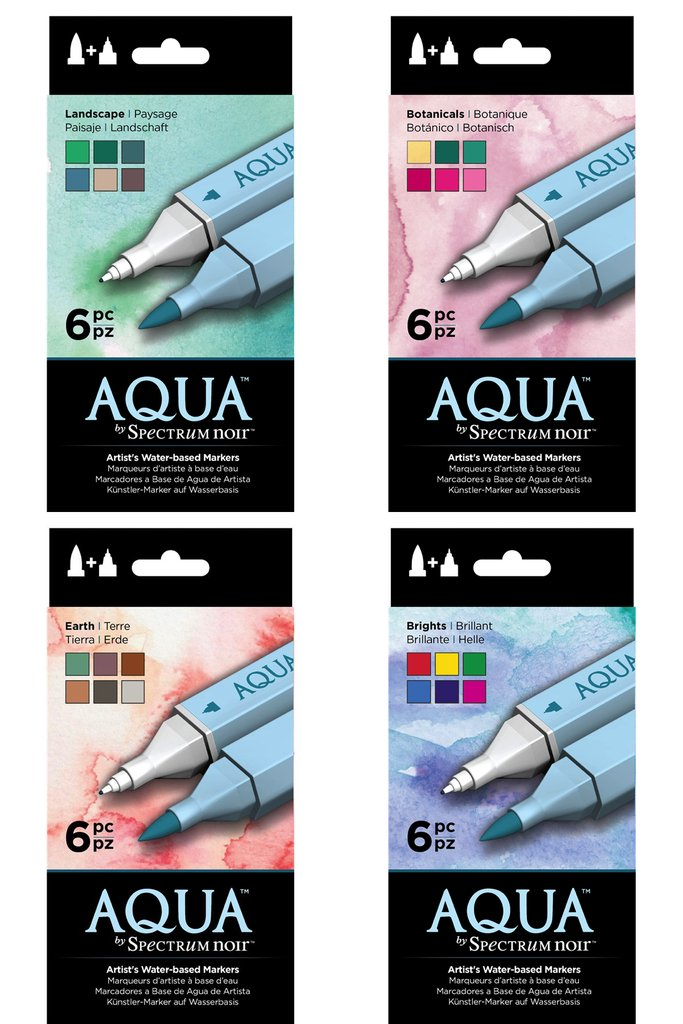Spectrum Noir Aqua Water Based Marker Art Craft Marker Pens - All 4 x 6 Packs