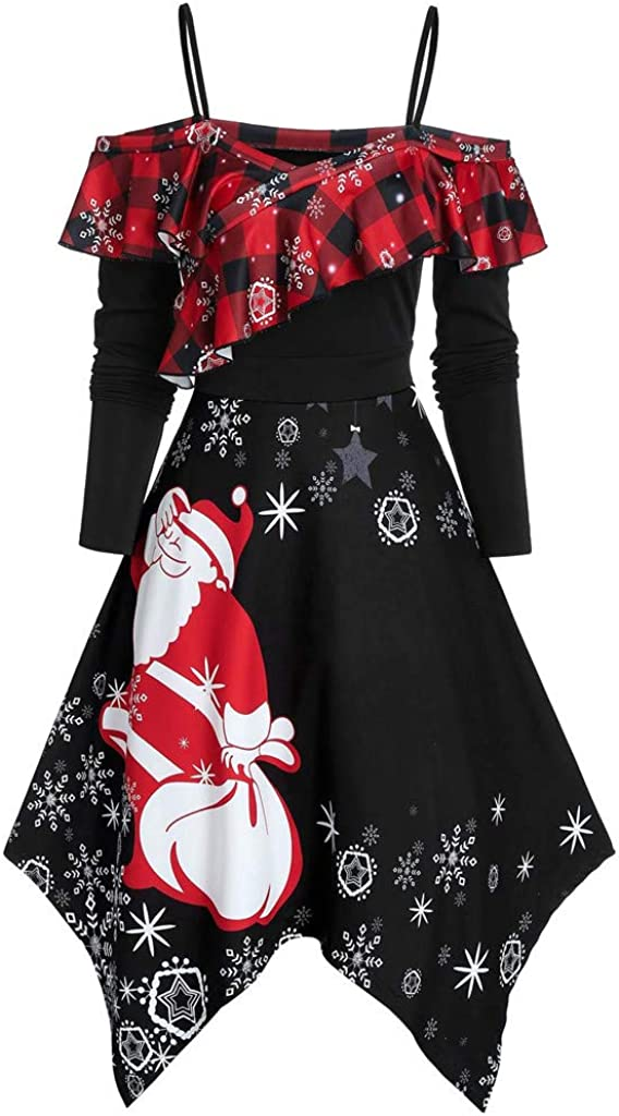 TWGONE Festival Clothing for Women Plus Size Merry Christmas Santa Snowflake Print Camis Long Sleeve Dress
