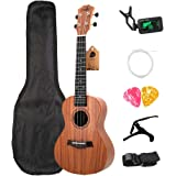 TOOGOO Concert Ukulele Kits 23 Rosewood 4 Strings Hawaiian Guitar with Bag Tuner Capo Strap Stings Picks Musical Instruments for Beginners