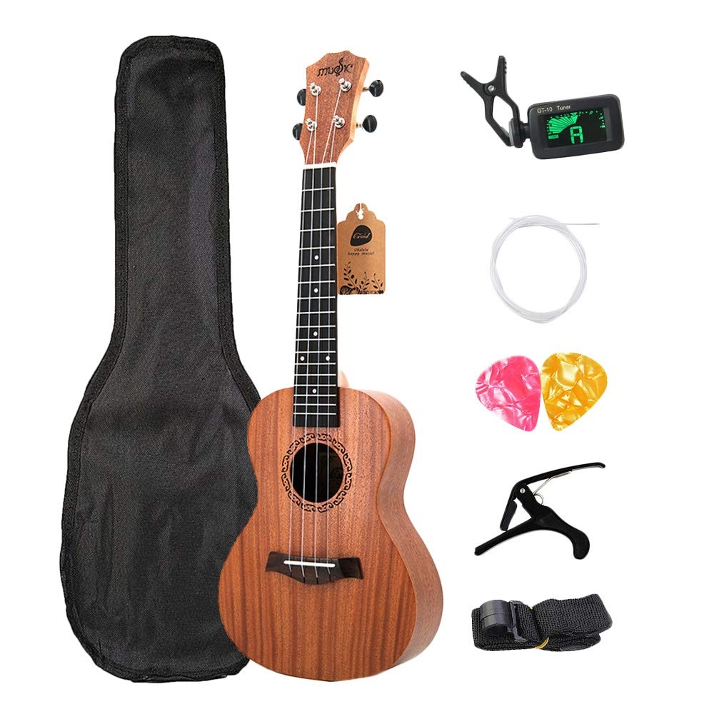 Gaoominy Concert Ukulele Kits 23 Inch Rosewood 4 Strings Hawaiian Guitar With Bag Tuner Capo Strap Stings Picks Musical Instruments For Beginners