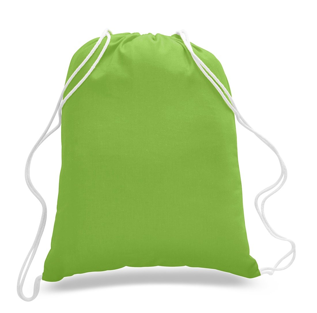 (36 Pack) Set of 36 Durable Cotton Drawstring Tote Bags (Lime)