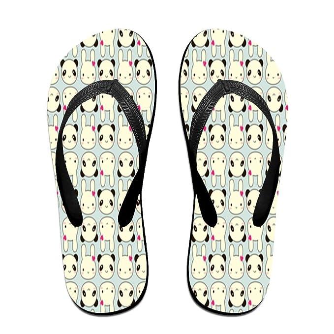 Unisex Non-slip Flip Flops Panda Background Cool Beach Slippers Sandal