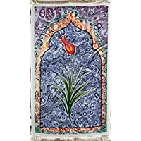 High End Islamic Prayer Rug/Tulip themmed Janamaz Sajjadah/Namaz Seccade by GOLD CASE - Made in TURKEY