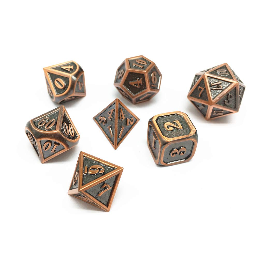Pathfinder MTG Tabletop Role Playing Game Polyhedral Metal Copper Border Enamel Dice Group HD DND Metal Dice Set Blue Mini RPG Dice for Dungeons and Dragons D/&D