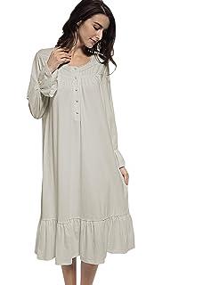 Mobisi Womens White Cotton Victorian Vintage Nightgown Long Sleeve  Nightshirt Sleepdress 23486baad