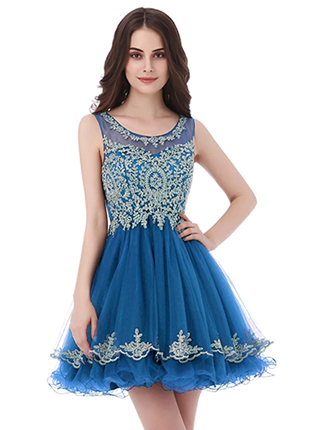 327ocean bluee Belle House Junior's Lace Short Prom Party Ball Gowns Sweetheart Homecoming Dresses