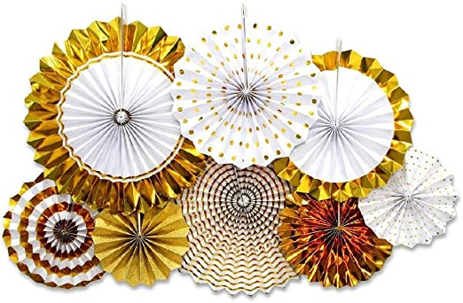 8Pcs Bronzing Paper flowers Holiday Folded Paper Fan Birthday Party Decoration