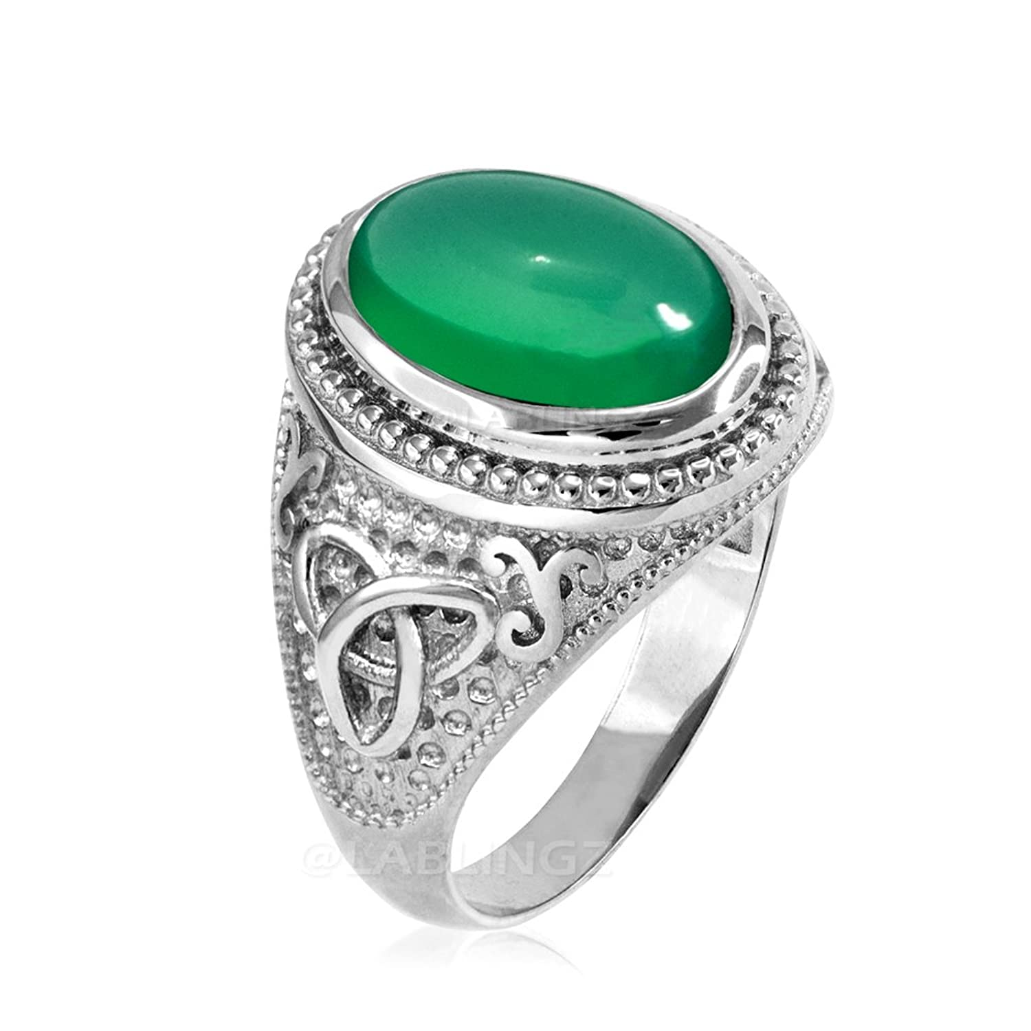 Sterling Silver Celtic Trinity Green Onyx Cabochon Statement Ring