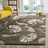 Safavieh Florida Shag Collection SG459-7913 Smoke and Beige Square Area Rug (4′ Square)