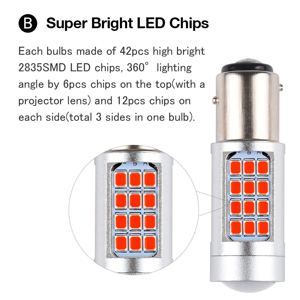 1797 BA15S P21W S25 1156 LED Brake Lights Bulb Tail Third Brake Lamps Red Projector Kit Replacement Bulbs Front Rear Wedge Plug Canbus Error Free Super Bright 2835SMD 12V 5W 1 Year Warranty Pack of 2