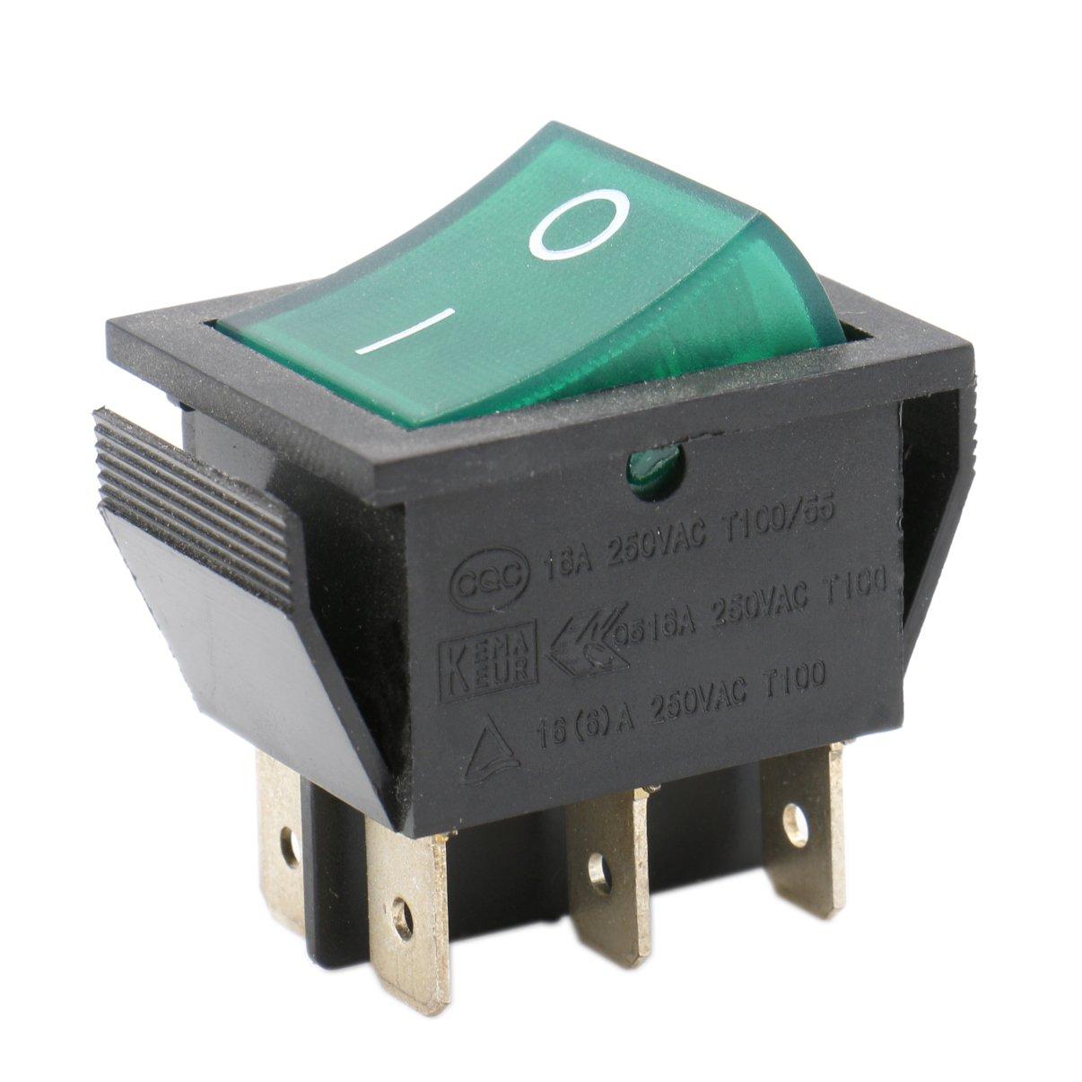 Heschen Rocker Switch ON-OFF DPDT 6 Terminals Green Light Illuminated 16A 250VAC 2Pack Ningbo Master Soken Electrical Co.Ltd RK1-01-HS