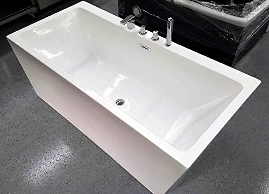 Freestanding Pedestal Soaking Bathtub, 67 , White Acrylic Indoor Tub, with Faucets and Drain