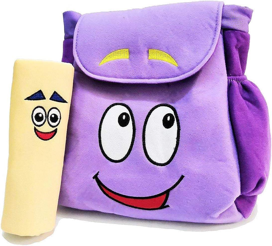12inch Dora Explorer Backpack Rescue Bag with Map,Pre-Kindergarten Toys Purple Plush Backpack (Dora Plush Backpack)