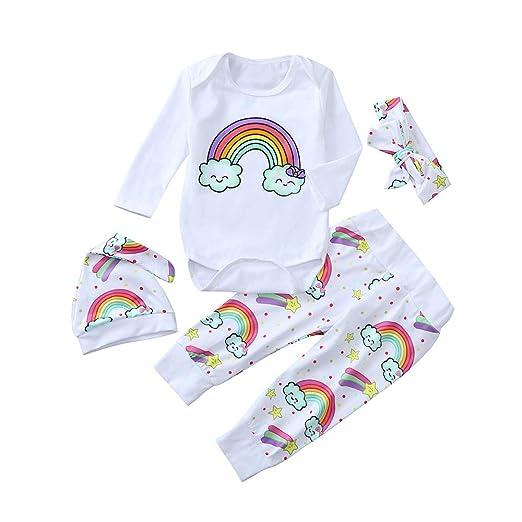 88862416f52 Amazon.com  Clearance Baby Boys Girls Pyjamas Kids Toddlers Letter Rainbow  Romper Jumpsuit Bodysuit Pants Hat Set Size 6-24 Months  Clothing