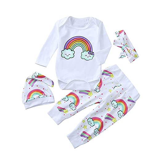 Newborn Baby Girl Boy Rainbow Jumpsuit Romper Tops Pants Hat Outfits Clothes Set