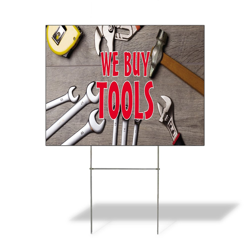 We Buy Tools #2 Outdoor Lawn Decoration Corrugated Plastic Yard Sign - 18inx24in, Free Stakes
