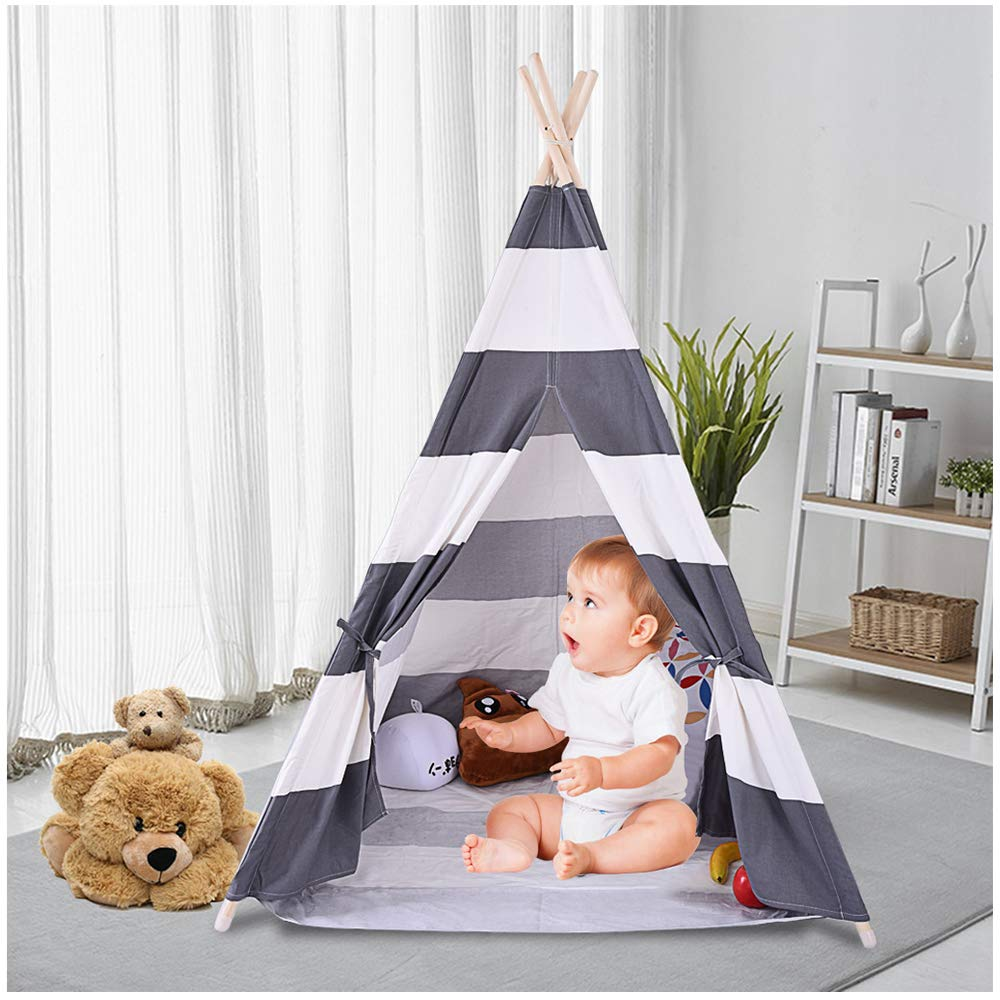 Kids Teepee Play Tent | Children Foldable Classic Canvas Play House Tipi Wigwam with Mat Floor & Carry Bag | Indian Playhouse Striping Toddler Room Decor (Gray Children Canvas Tent)