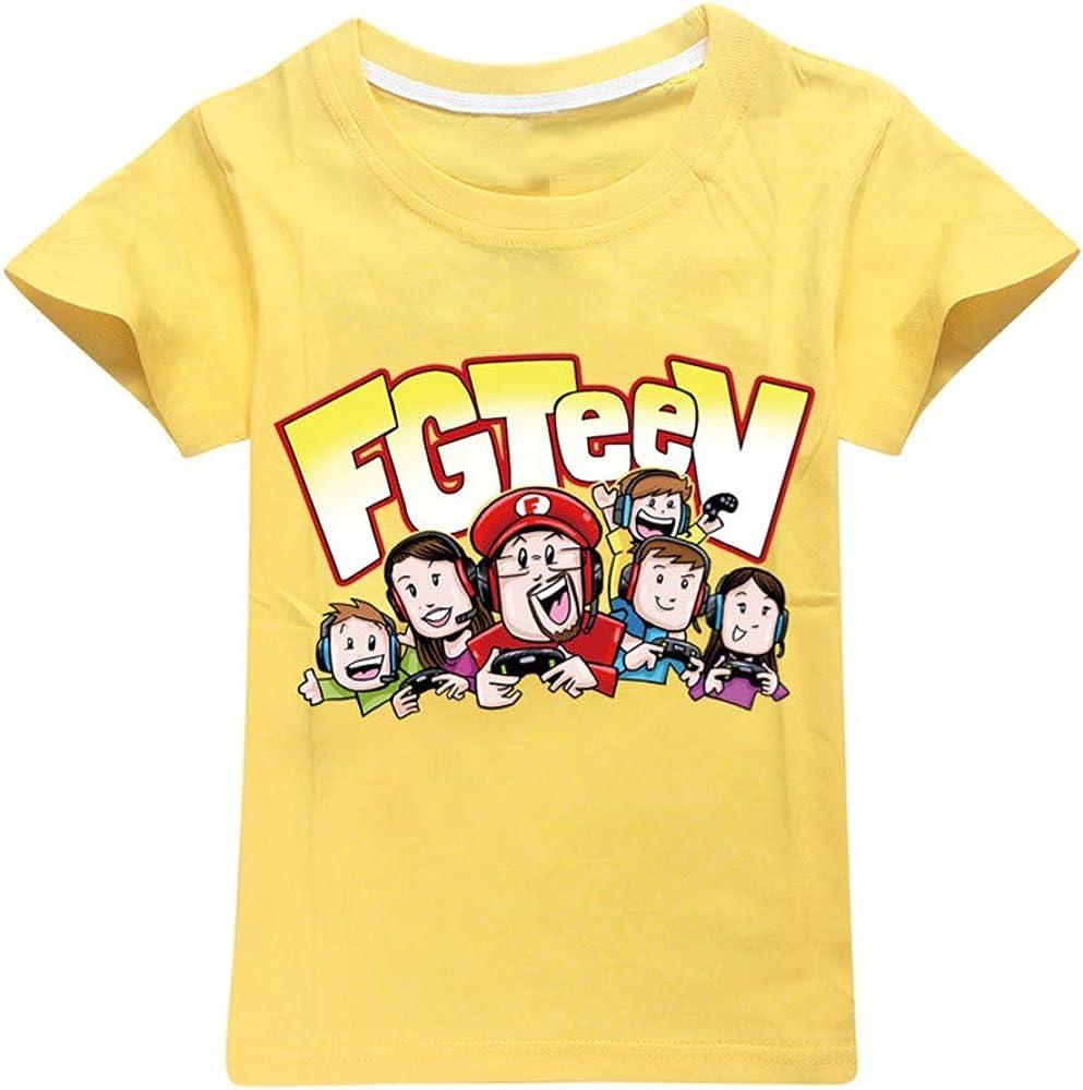 Dgfstm FGTEEV Kids T-Shirt Solid Color Printed T-Shirt 100/% Cotton Boys and Girls Children Short Sleeves