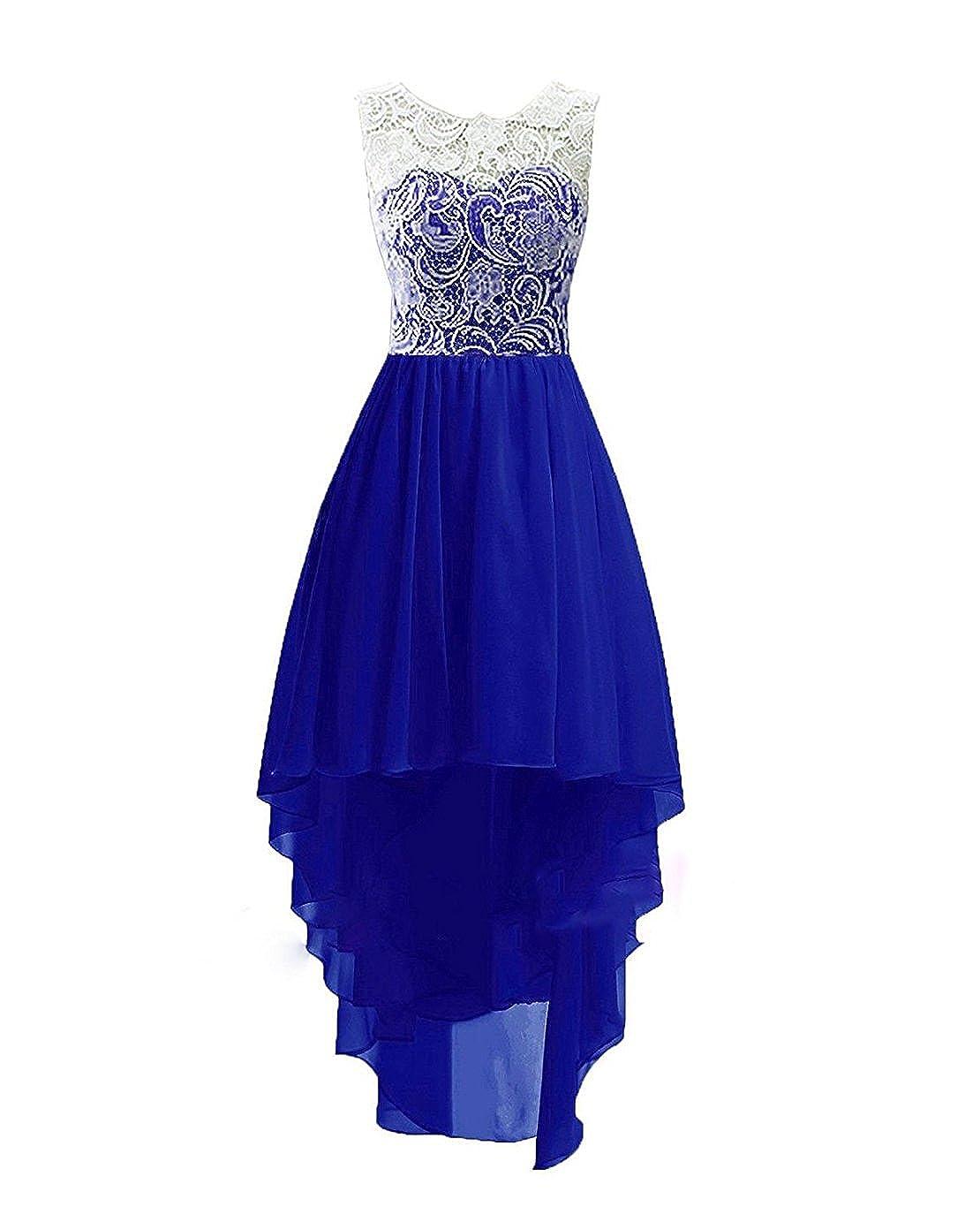 Bleu Roi 5 ans ISHSY Robe de Soirée Cérémonie Mariage Fille Enfant Longue Asymétrique Dentelle Taille 2-13 Ans