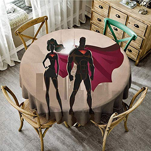 DONEECKL Round Tablecloth Superhero Super Woman and Man Heroes in City Solving Crime Hot Couple in Costume Party D67 Beige Brown Magenta ()