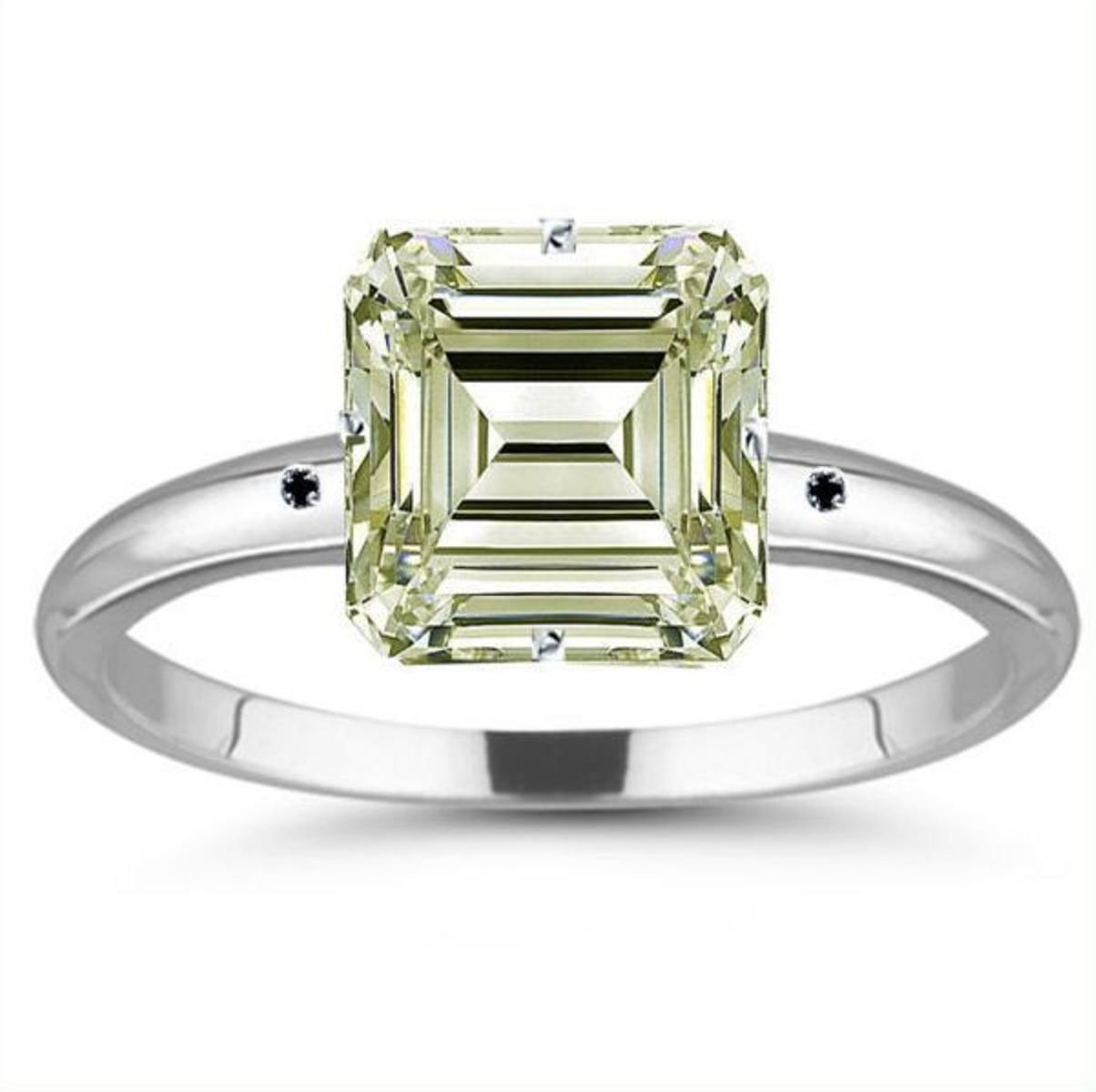 RINGJEWEL 5.60 ct VVS1 Emerald Moissanite Silver Plated Engagement Ring Off White Color Size 7.