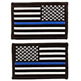 Skyhawk Tactical US Flag Thin Blue Line Morale Embroidered Patch- 2 Pieces Variety Pack