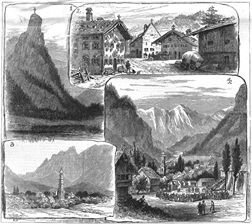 OBERAMMERGAU. passion play; Kofel dolomite peak Ettal; Decorated; theatre - 1880 - old antique vintage print - engraving art picture prints of Germany Mountains - The Illustrated London - Engraving Antique 1880