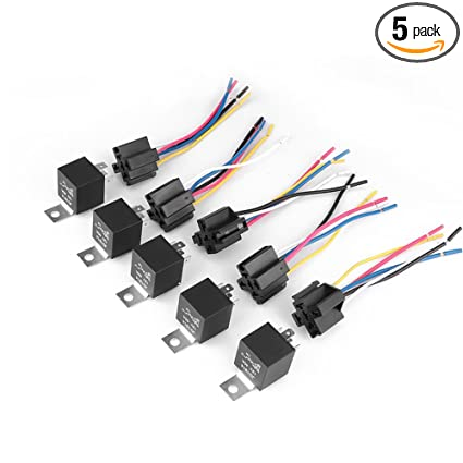 Pulusi 5 Set DC 12V 40A AMP Relay & Socket SPDT 5 Pin 5 Wire JD1914 For  Auto Car Truck Accessories