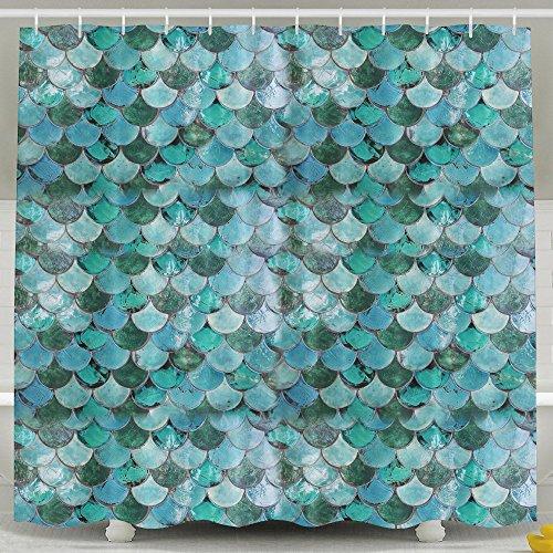 Chaming Pastel Mermaid cortina de ducha de tela (cuarto de baño cortina de baño con ganchos