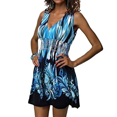 Sommerfrauen sleeveless Kleid tiefes v-Ansatz Kleid Blumenkleid ...
